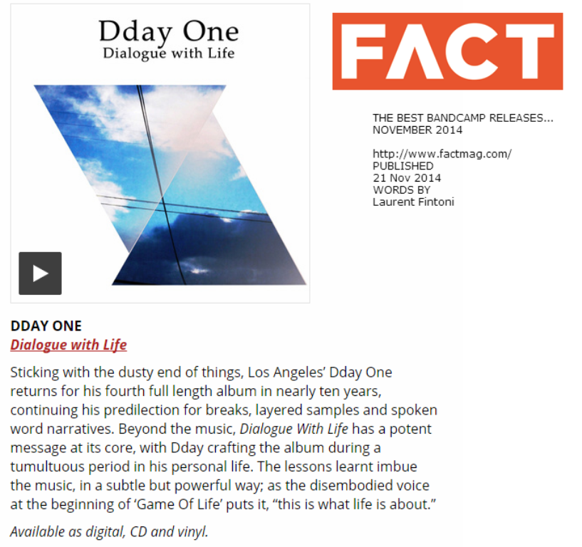 Fact Magazine: Best Bandcamp releases. Dday One - Dialogue with Life